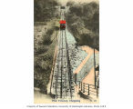 Peak Tramway, tracks and cable car ascending hill, Hong Kong, n.d.