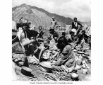 Group from the Sherdukpen and Monpa ethnic group eating meal in mountains,  Northeast Frontier...