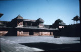 Akbar's palace, viewed across courtyard, Fatehpur Sikri, Uttar Pradesh, India, ca. 16th century...