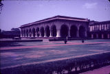 Angle view of Diwan-i-Am with grass lawn in foreground, Red Fort, Agra, Uttar Pradesh, India, ca....