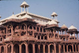 Upper level of Tomb of Akbar the Great, with red sandstone architectural detailing, Sikandra,...