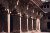 Angle close up of columns on verandah of Jodha Bai's palace, Red Fort, Agra, Uttar Pradesh, India,...