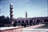 Mausoleum with two minarets from Jahangir's tomb and garden in Lahore, Punjab, Pakistan, ca. 1628...