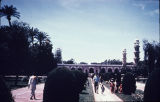 Distant view of mausoleum with minarets, Jahangir's tomb and garden in Lahore, Punjab, Pakistan,...