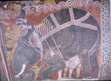 Fresco close up depicting Mara thrown from his elephant, Dambulla Cave Temple, Matale, Sri Lanka,...