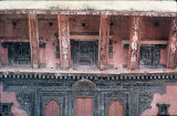 Close up of doors and wooden struts on north side of Pashupati temple, Bhaktapur, Nepal, ca. 18th...