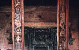 Close up of two painted wooden struts on north side of Pashupati temple, Bhaktapur, Nepal, ca....