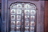 Rough-panelled silver temple door, Amber (Amer) city, Rajasthan, India