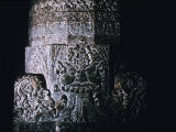 Close up of interior pillar base with Kirtimukha glorious face, Ajanta Cave #1, Maharashtra,...