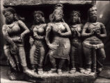 Group of five sandstone figures with two to either side of a dancer, Deogarh, Bihar, India, ca....
