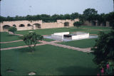 Distant view of samadhi of Mahatma Gandhi in courtyard, New Delhi, India