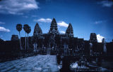 Front view of main temple in Angkor Wat temple complex, viewed from above, Angkor, Cambodia, ca....