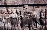 Buddha received in state of Roruka, scene from Rudrayana relief in first gallery of Borobudur...