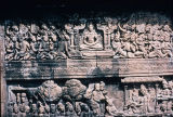 Relief depicting Buddha's life, from first gallery of Borobudur Stupa, Central Java, Indonesia,...