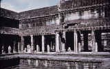 Tympanium over doorway, Angkor Wat temple complex, viewed from above, Angkor, Cambodia, ca. 12th...
