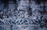 Bas relief of battle scene, Bayon Khmer temple, viewed from north, Angkor, Cambodia, ca. 12th-13th...