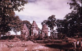 Distant view of Preah Ko Hindu temple from southeast, Roluos group, Angkor, Cambodia, ca. 880 A.D.