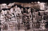 Relief scene from life of Buddha, from first gallery of Borobudur Stupa, Central Java, Indonesia,...