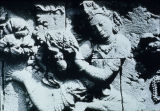 Relief detail of flying gandharva, Borobudur Stupa, Central Java, Indonesia, ca. 8th century A.D.