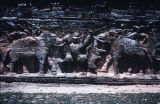 Close up of elephant hunting relief on side of Elephant Terrace, Angkor Thom, Cambodia, ca....