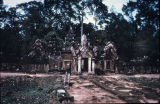 Banteay Srei temple with road leading to it, Angkor, Cambodia, ca. 10th century A.D.