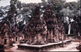 Central towers of Banteay Srei temple in Angkor, Cambodia, ca. 10th century A.D.