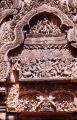 Close up of tympanium from east facade of Banteay Srei north library, Angkor, Cambodia, ca. 10th...