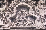 Ornate tympanium over west doorway of Thomannon temple, Angkor Thom, Cambodia, ca. 11th-12th...