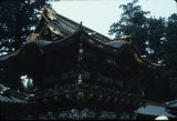 Close up of upper structure of Yomeimon gate in Nikko, Japan, ca. 1983