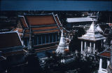 Elevated view of Bangkok temples from Wat Arun, Thailand
