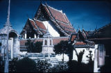 Temple roofs and walls in Wat Pho complex, Bangkok, Thailand, ca. 18th century A.D.