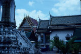 Side view of a temple and temple roofs in Wat Bemchamabophit, Bangkok, Thailand, ca. 19th-20th...