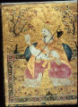 Gilded Mughal painting depicting Deccani Ibrahim Adil Shah playing a vina, Bijapur, India, ca....