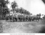 British and Indian soldiers with elephants, Multan, 1899