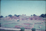 Elevated view of Nalanda University Complex ruins, Bihar, India, ca. 10th-11th century A.D.