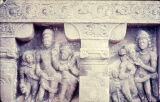Five standing stone figures in two architectural niches, Gupta period, Deogarh, Bihar, India, ca....