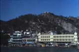 Alka Hotel and adjacent buildings, viewed from across Ganges River, Haridwar, Uttarakhand, India