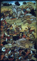 Minature Mughal painting depicting battle scene from Babur's life, ca. 16th century A.D.