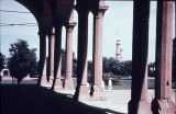 View of minarets through columns of Lahore Fort Hall of Audience, Punjab, Pakistan, ca. 16th-17th...