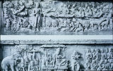 Relief panels from first gallery of Borobudur Stupa, including Buddha's bath and Prince consort,...