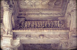 Gallery panel with dancing apsaras, from Dilwara Jain temple, Mount Abu, Rajasthan, India, ca....