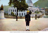 Uniformed man in front of Supreme Court Building in Statue Square, Hong Kong, ca. 1913