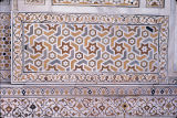 Close up of marble inlay work on wall of Itmad-ud-Daula's Tomb, Agra, Uttar Pradesh, India, ca....