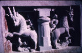 Window sculptures of two horned mythological beings and riders, Mahadeva temple, Nachna, Madhya...