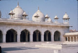 Close up of gallery archways and domes, Moti Mosque, Red Fort, Agra, Uttar Pradesh, India, ca....