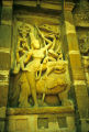 Durga panel from temple south wall, Kanchipuram, Tamil Nadu, India, ca. 8th century A.D.