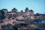 Jahaj Mahal on the waterfront, Mandu, Madhya Pradesh, India, ca. 15th century A.D.