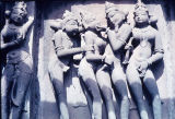 Erotic sculpture from a temple outer wall, Khajuraho, Madhya Pradesh, India, ca. 10th-11th century...
