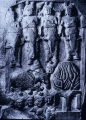 Sandstone relief with figures, elephant, and a tree, from Sunga Buddhist Stupa 1n Barhut, Madhya...