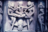 Erotic panel from exterior wall of Kandaryi Mahadeva Temple, Khajuraho, Madhya Pradesh, India, ca....